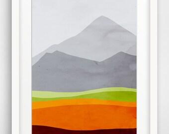 Mid Century Modern Art, Large Abstract Wall Art, Mountains Landscape Print, Oversized Art, Giclee Print