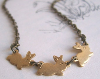 Little Rabbits necklace - golden brass bunny charms - gift for pet lover - nickel free