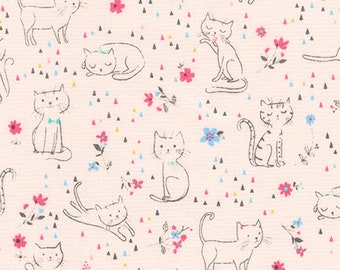 Whiskers and Tails in Pink - Robert Kaufman - Sea Urchin - AUI-16733-10 - Cat Fabric - Kitten Fabric
