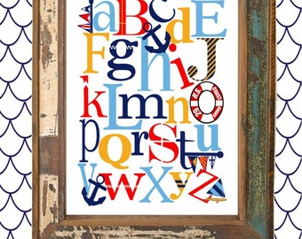 NAUTICAL  ABC Nursery Art Print