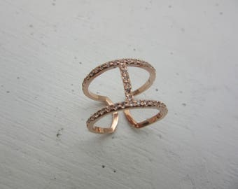 Caged Layer Ring Rose Gold Connected Ring