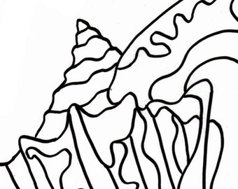 Coloring page - Embroidery pattern - Conch Shell - digital pattern - adult coloring page - coloring page - conch shell - sea shell - pattern