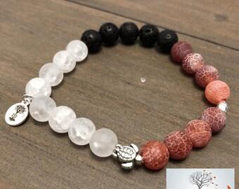"Natural Stone Elastic Bracelet - ""Spiritual Blaze"" (Snowflake Quartz, Fire Agate, and Lava Rock)"