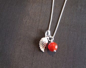 Sterling Silver Birthstone Necklace with Silver Charm and Real Gemstones