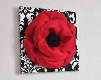 Poppy flower wall art - Poppy flower decor - poppy flower wall decor - Red Poppy Art- Blooming red poppy - Flower bed decor - Poppy Nursery