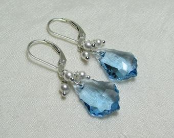 Bridesmaid Jewelry Swarovski Crystal Bridal Earrings Bridesmaid Gift Pearl Crystal Earrings Bridesmaid Earrings Wedding Jewelry