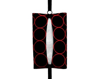 Auto Sneeze - Rings - Visor Tissue Case/Cozy - Car Accessory Automobile Black and Red Circles