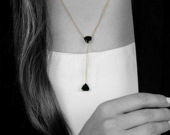 SUMMER SALE - Black onyx necklace,drop necklaces,lariat necklaces,Y necklaces,gold necklace,gemstone necklace