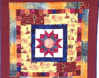 On Sale Vineyard Star at Sunset 42x42 inch art quilt by O.V. Brantley
