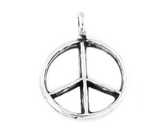 Sterling Silver Peace Sign Charm (3d Charm)