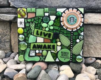 Live Awake. (Handmade Original Upcycled Starbucks Cap Series Mixed Media Mosaic by Shawn DuBois)