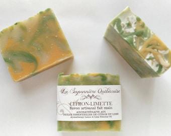 Savon Citron-Limette, Savon artisanal fait main 100% naturel, Lemon & Lime Soap, Cold process All Natural Handmade Soap