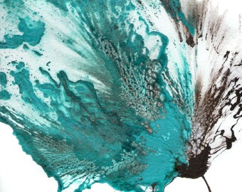 Abstract Art, Blue Flower, Teal Painting, Original Artwork, Fine Art