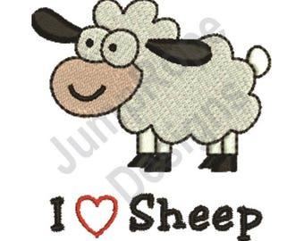I Love Sheep - Machine Embroidery Design