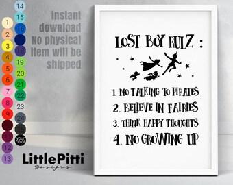 Captain Hook, disney nursery boy, lost boy rules, boy nursery decor, Peter Pan wall art, Neverland decoration, kids room print, boy rules