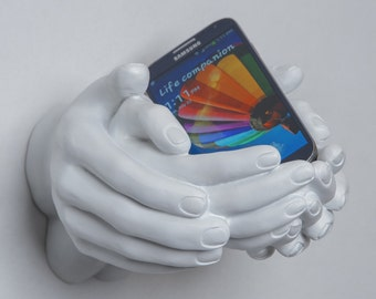 """Interior Illusions Plus - White Hand - Helping Hands -Wall Mount - Sculpture - Display Jewelry, Rings, Bracelets, Accessories - 9"""" long"""