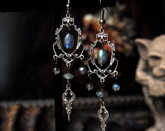 Bewitched Era Silver Labradorite Chandelier Earrings 3 inches