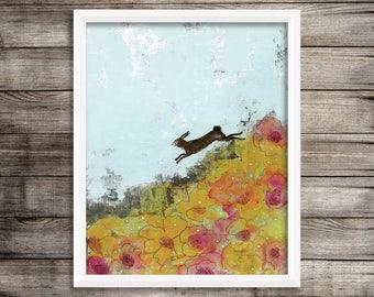 Lapin murale Print Art-botanique, œuvres d'art imprimable, lapin et paysage peinture Art Print pour votre décor de chambre d'enfant Woodland