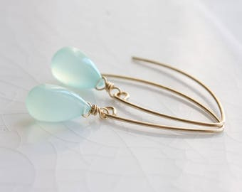 Chalcedony earrings - 14k gold filled aqua chalcedony earrings, long chalcedony dangle earrings, chalcedony jewelry, gift for her