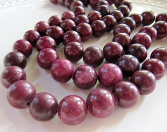 Jungle JASPER Beads in Dark Berry Purple Pink , Dyed, 16mm to 17mm, 12 Pieces, Round, Smooth