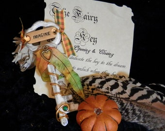 HARVEST IMAGINE Fairy KEY Embelleshed Magic Tool with Organza Bag and Scroll