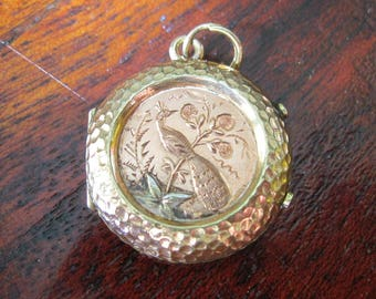 Small Antique Victorian Peacock and Castle Locket - Pink and Yellow Gold filled - Hammered Border - C1880