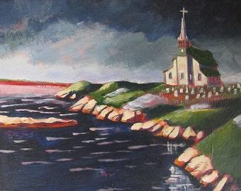 SALE / Newfoundland / original painting / Newfoundland art / impressionism / seascape / home decor / religious art