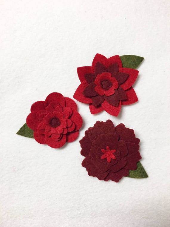Red Felt Flowers, Loose Flowers for Crafting and Decor, Valentines Decor, Wedding and Party Decoration