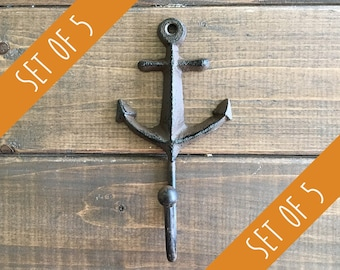 Set of 5 Brown Anchor with Hook | Cast Iron Hook | Beach Hook Decor | Coastal Decor | Nautical Decor