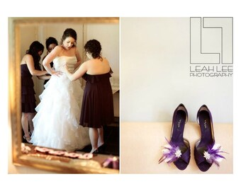 Wedding Shoe Clips Ivory & Royal Purple Feathers Rhinestone. Bride Bridal Bridesmaid, Couture Statement. Boudoir Burlesque. Sparkly Crystals