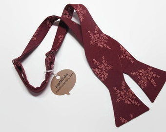 Freestyle Wine Bow Tie - Branch Bow Tie - Floral Bow Tie - Handmade Men's Bow Tie - Self-Tie Bow Tie - Burgundy Bow Tie - Calico Bow Tie