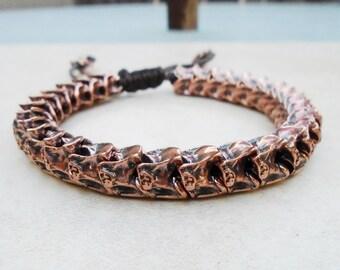 Solid Copper Snake Vertebrae Bracelet / Free US Shipping