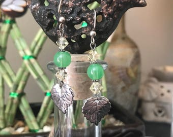 Green Glass and Silver Leaf Earrings