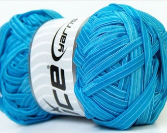 WOOL ICE GRUNGY RIBBON BLUE SKEIN OF 100 G FINGERING //55 6/7