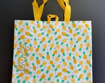 Reusable Tote - Pineapple Printed tote used to carry your STUFF! Custom handlettered word or phrase included.