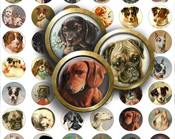 1 in Bottle Cap Pendant Circle Dog Puppy Images Collage sheet Scrapbooking Instant Digital Download