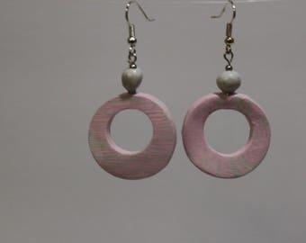 Pretty in pink, dangle earrings, long earrings, pink earrings, white earrings, fun earrings, polymer clay, unique, handmade earrings