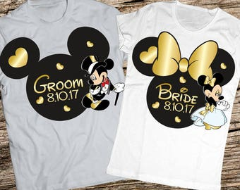 Just married shirts, Bride and groom shirts, Honeymoon shirts, Anniversary disney shirts, Disney shirts honeymoon, Disney honeymoon shirts,