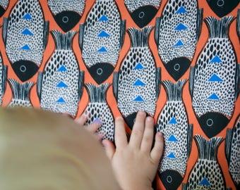 orange fish crib sheet, orange fish bedding, fish crib set, fish baby bedding, changing pad cover, fish crib sheet, orange fish cot sheet
