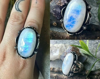 Blue Moondust Ring - Rainbow Moonstone Handstamped Sterling Silver Ring - Size 9 - Boho - Moon - Stars - Bohemian - Witchy - Split Shank