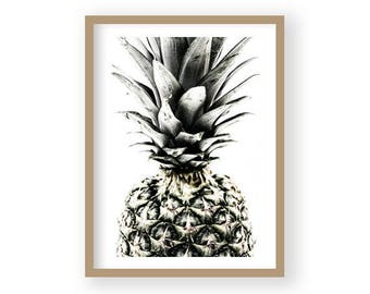 Pineapple Print, Tropical Fruit Wall Art, Kitchen Decor, Black and White Art, Scandi Decor, Modern Minimalist Decor, Kitchen Wall Art