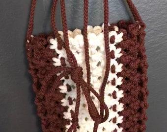 Macrame handmade rust brown and white bag