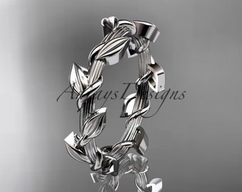 Leaves and vine platinum wedding band ADLR248B