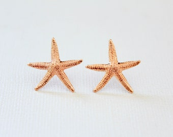 Starfish Earrings in Rose Gold, Beachy Beach Inspired, Star Fish Earring Studs, Boho Jewelry, Ocean Creature, Vacation Holiday Accessory