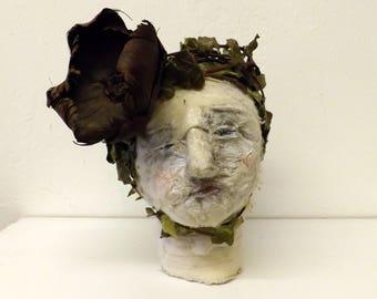 Human Head Sculpture - Unusual Gift - Creepy Doll - Textile Sculpture - Uncanny Art - Decorative Object - BeautyOfDecayArt - Teresa Wilson