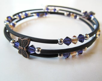 Butterfly Purple and Amber Crystal and Black Beaded Memory Wire Bracelet