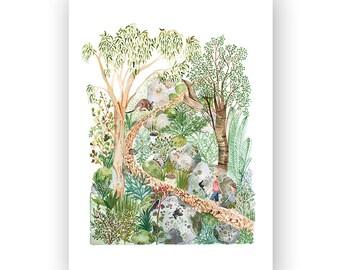 Bushwalking - archival art print