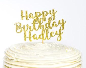 Happy Birthday Cake Topper, Custom Cake Topper, Birthday Topper, Cake Topper, Glitter Cake Topper, Happy Birthday Topper