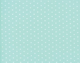 Floral Whole Heart Aqua from Good Life Collection by Bonnie and Camille for Moda Fabrics