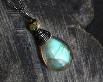 Labradorite Necklace - Labradorite Jewelry - Pyrite - Green Necklace - Oxidized Sterling Silver Necklace - CircesHouse